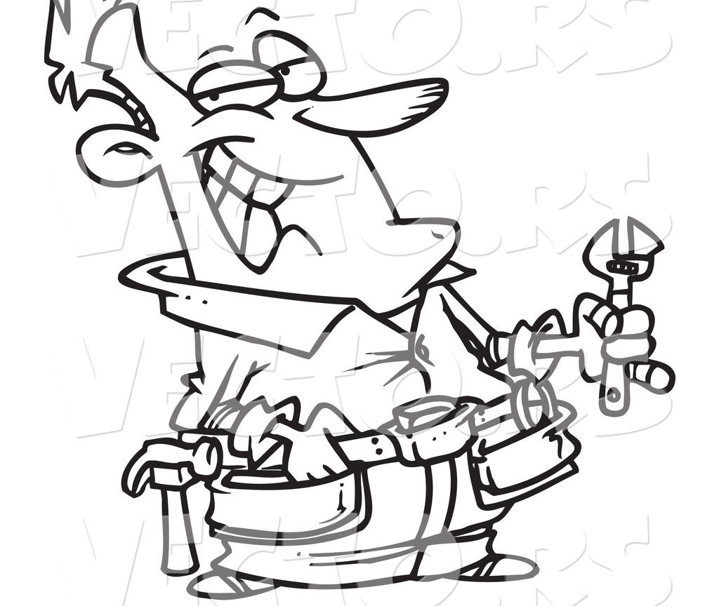 1024x864 Coloring For Kids Vector Of Cartoon Worker Carrying Tools Page