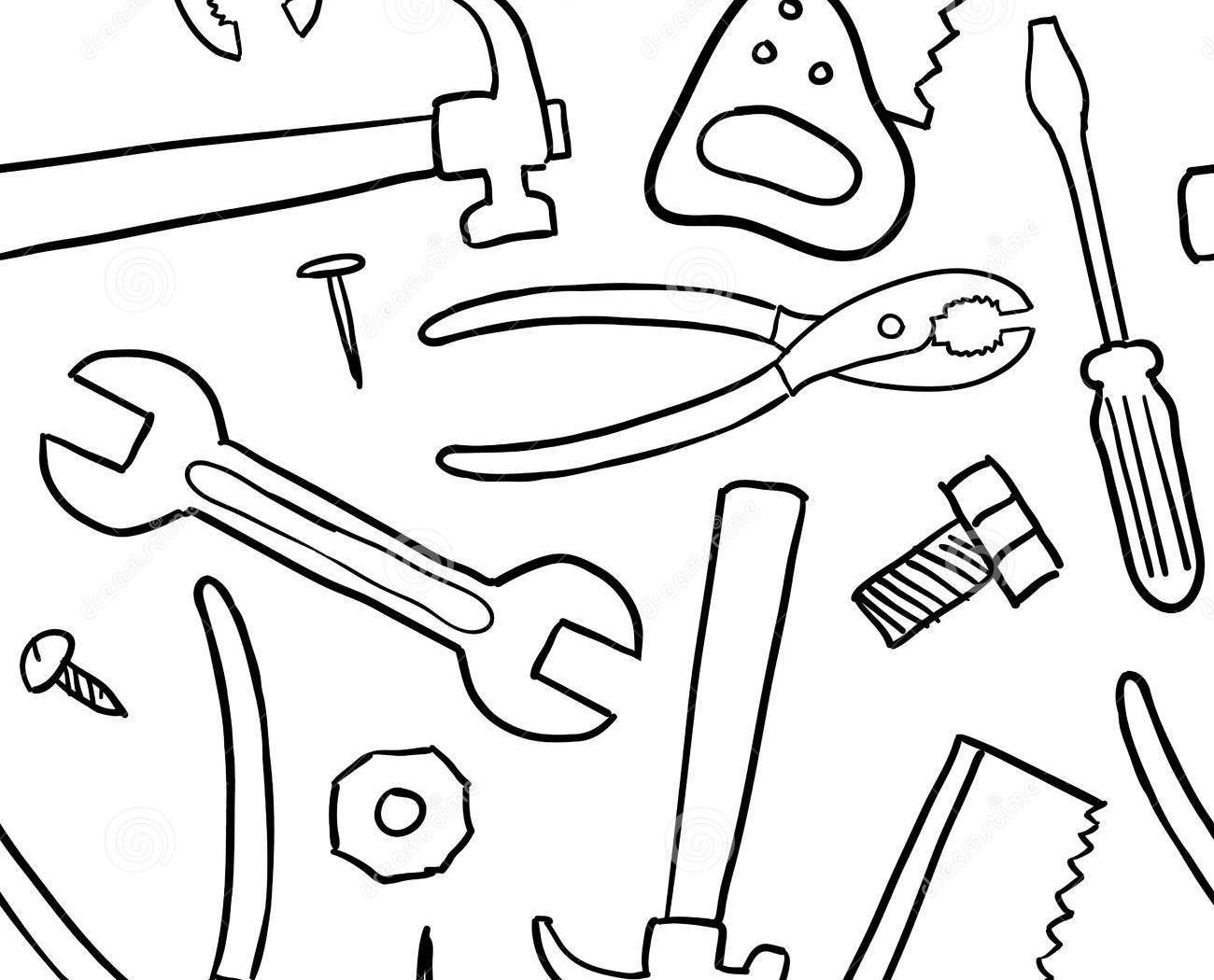 1300x1050 Construction Colotring Pages Tools Free Coloring For Kids