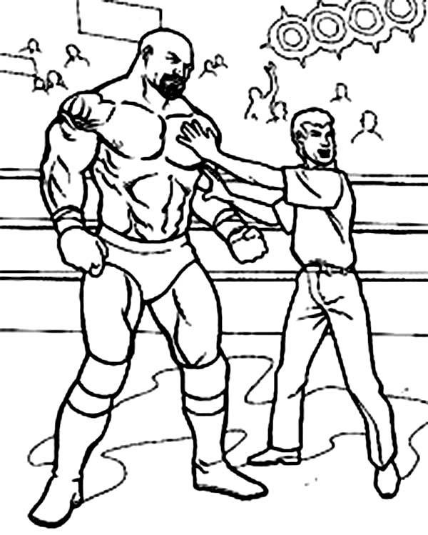 600x749 Wrestling Referee Cornered A Wrestler Coloring Page Color Luna