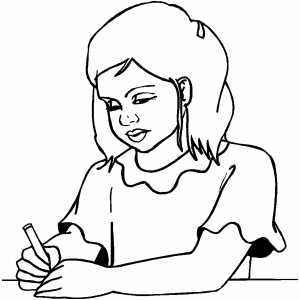 300x300 Girl Writing Note Coloring Page