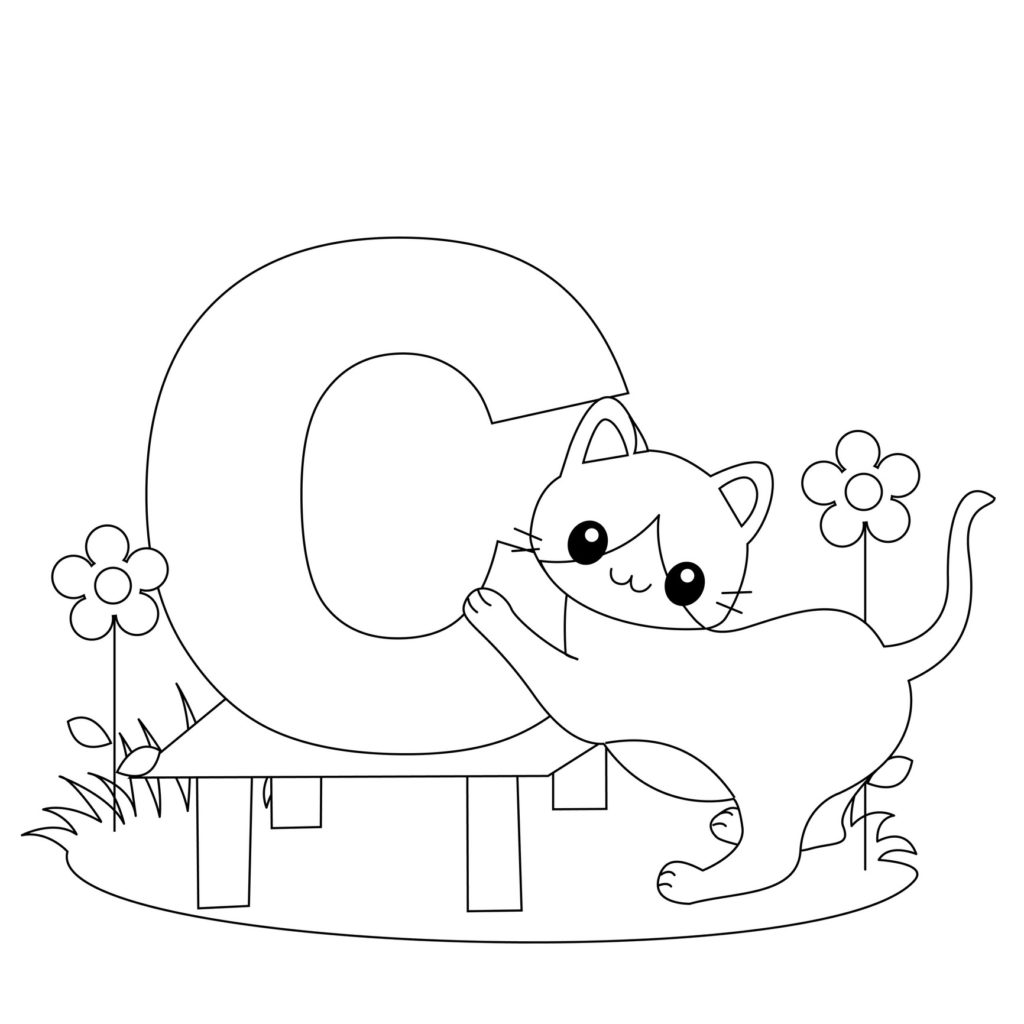1024x1024 Letter C Coloring Pages Of Alphabet Words For Kids Throughout