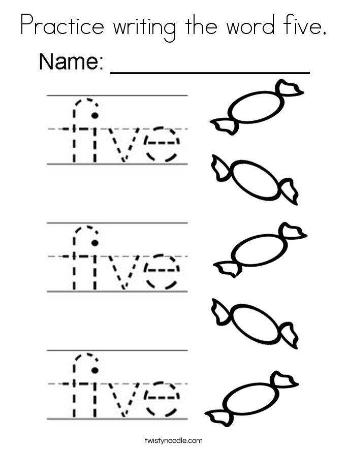 685x886 Practice Writing The Word Five Coloring Page