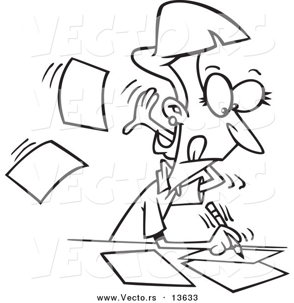 600x620 Vector Of A Cartoon Fast Author Writing On Pages