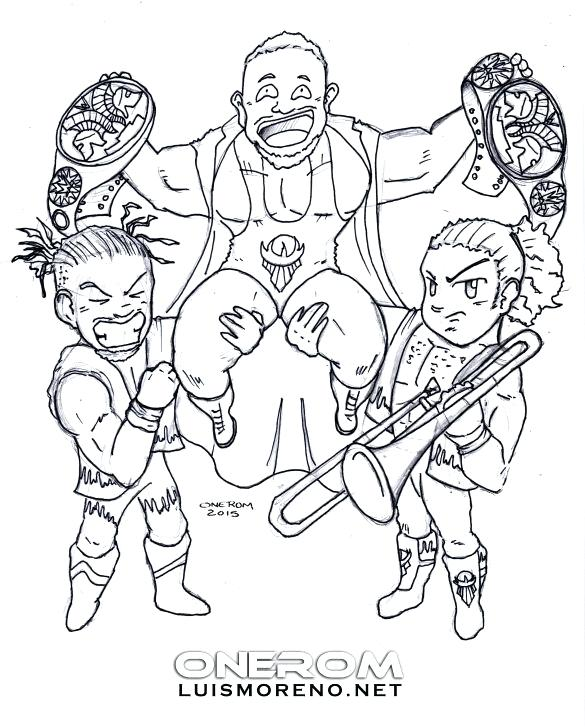 585x727 Wwe Divas Coloring Pages The New Day
