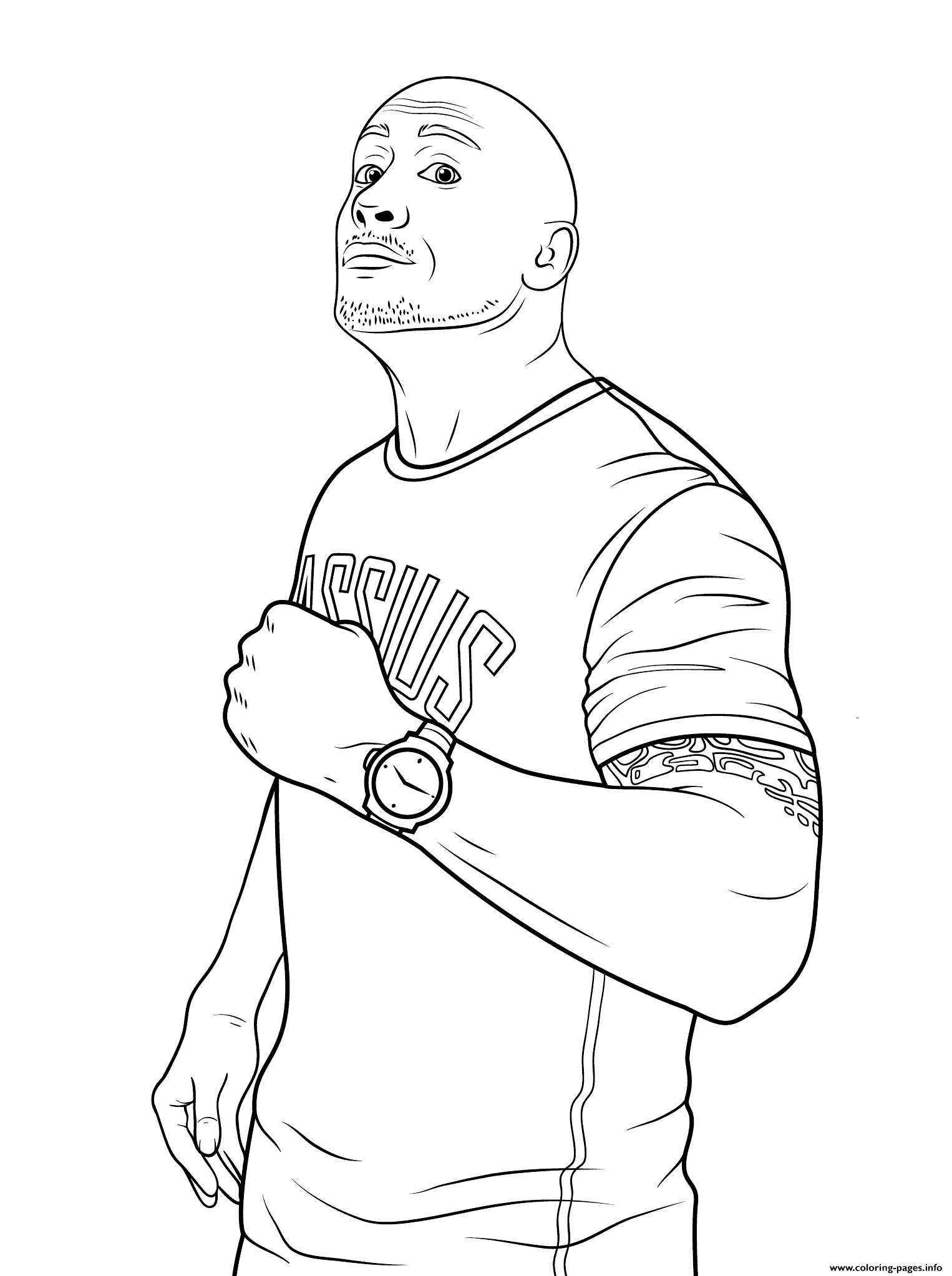 1526x2046 Wwe Dwayne The Rock Johnson Coloring Page Coloring Pages Printable