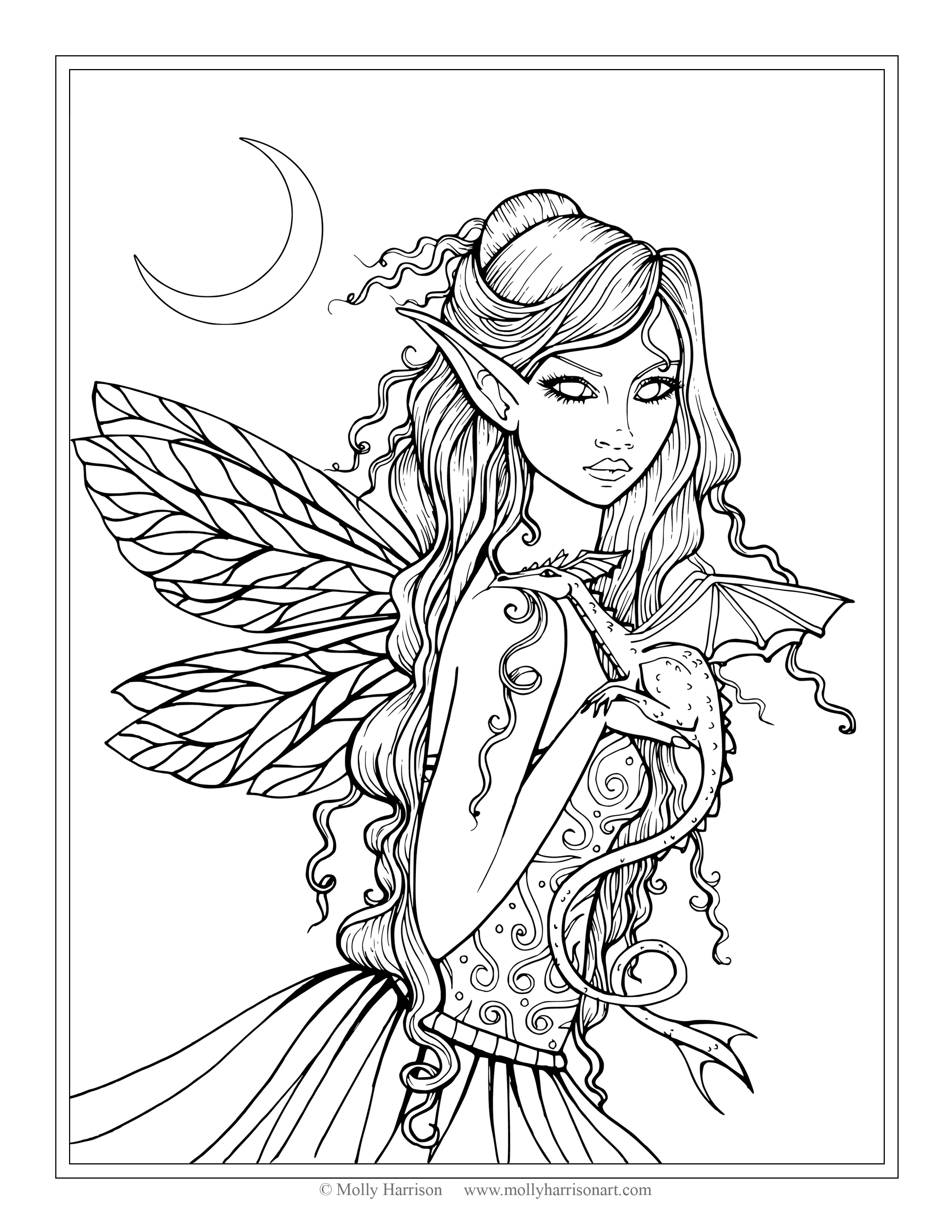 2550x3300 Free Fairy And Dragon Coloring Page