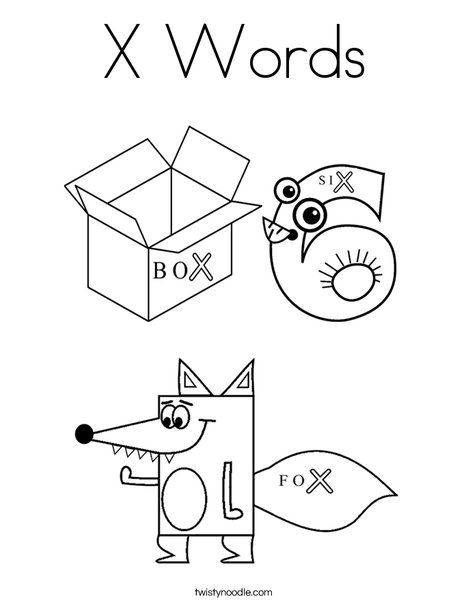 468x605 X Words Coloring Page