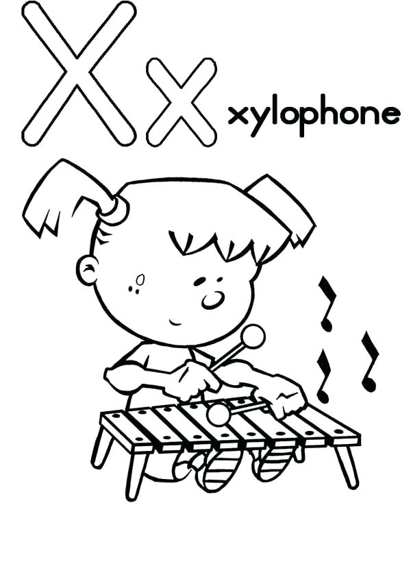 600x826 Xylophone Coloring Page Letter X Coloring Page Capital Letter X
