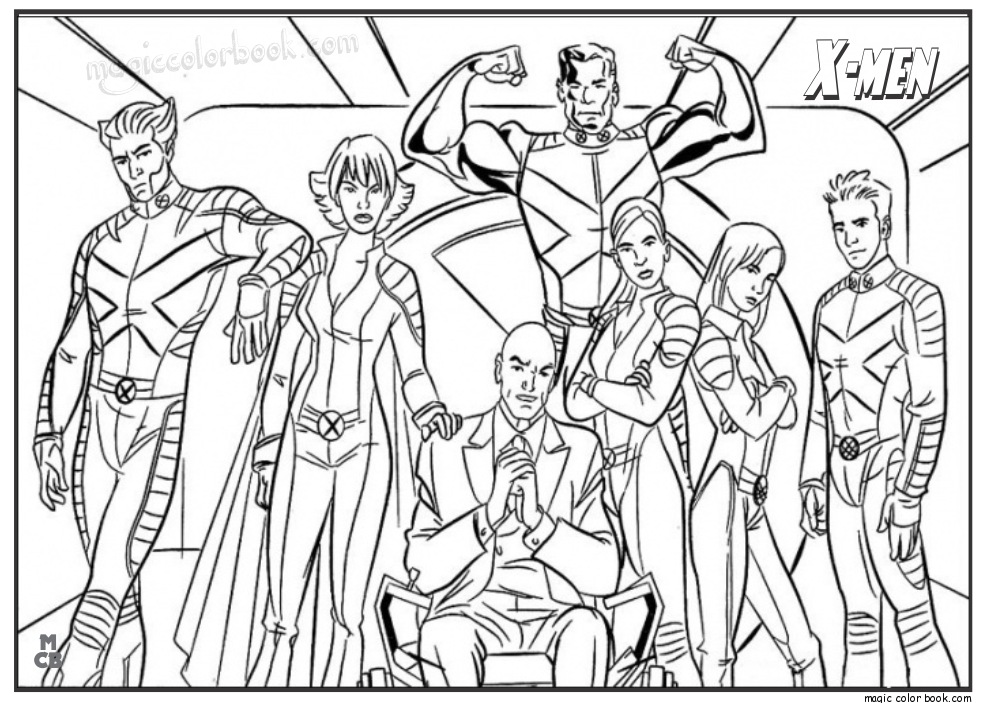 990x703 X Men Coloring Pages Free Printable