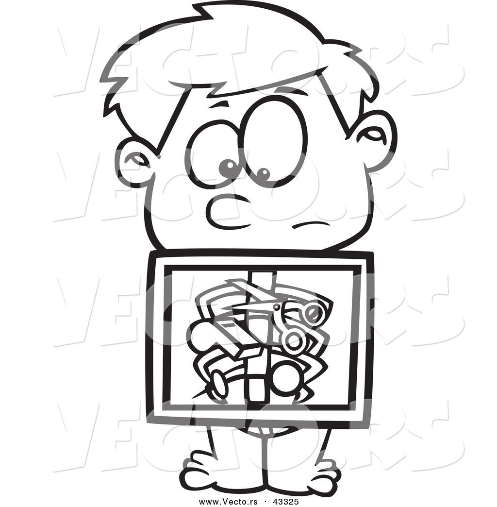 1024x1044 Vector Of A Nervouse Cartoon Boy Holding X Ray Showing Swallowed