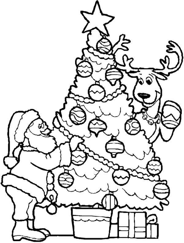 600x790 Christmas Tree And Santa Coloring Page Jesus Christ