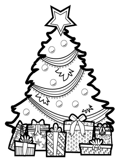 500x673 Christmas Tree With Presents Coloring Pages