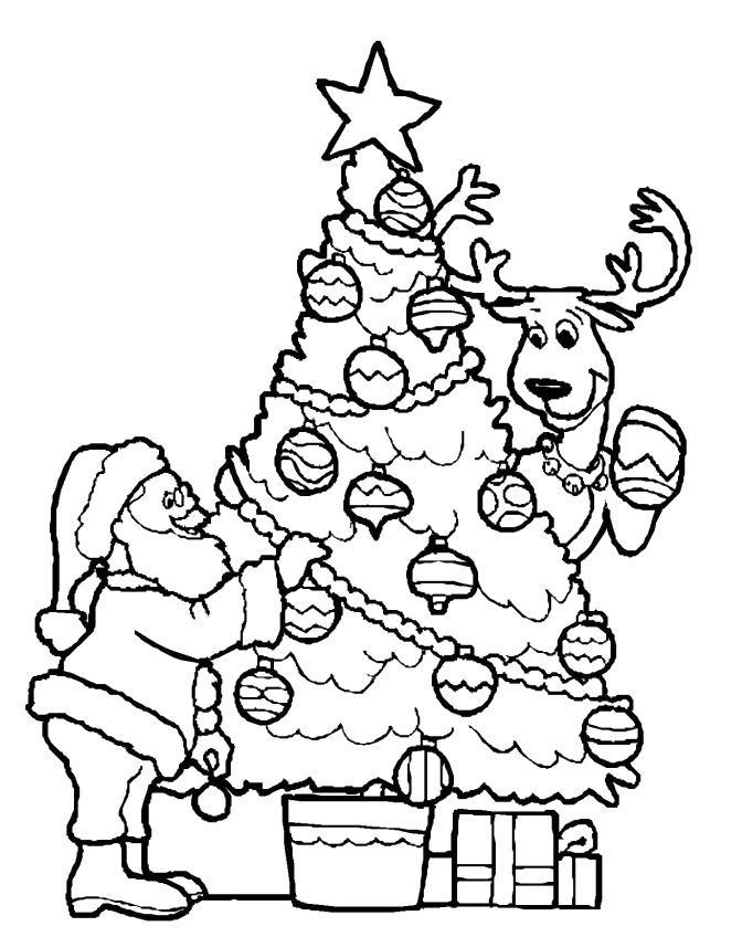 672x848 Decorating A Christmas Tree Coloring Pages