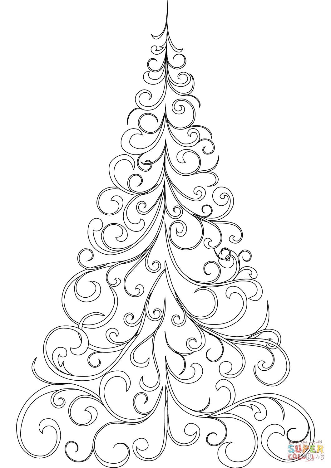 1060x1500 Christmas Tree Color Page Swirly Coloring Free Printable Pages