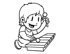 290x227 Printable Child Xylophone Coloring Page