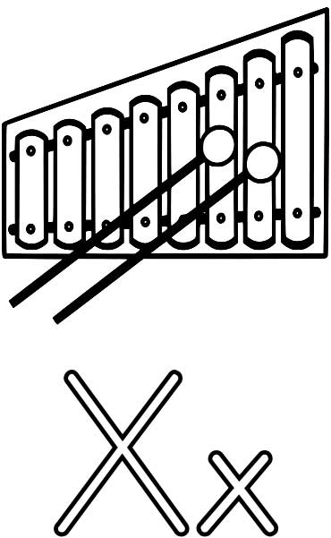 370x601 Xylophone Coloring Page