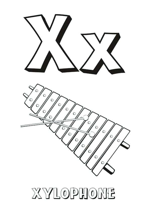 600x862 Xylophone Coloring Page Alphabet Letter X Is For Xylophone