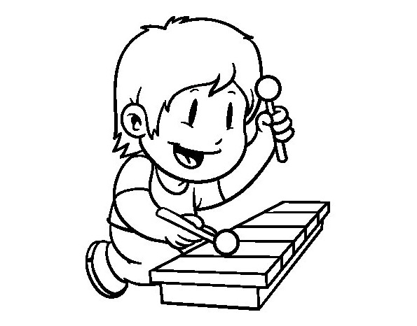 595x466 Child Xylophone Coloring Page Coloring Book