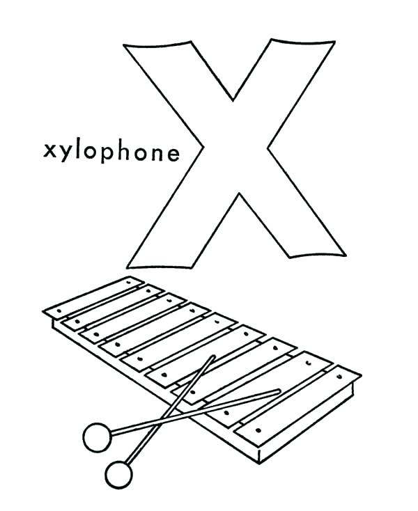 600x734 Xylophone Coloring Page Printable Xylophone Coloring Book Letter X