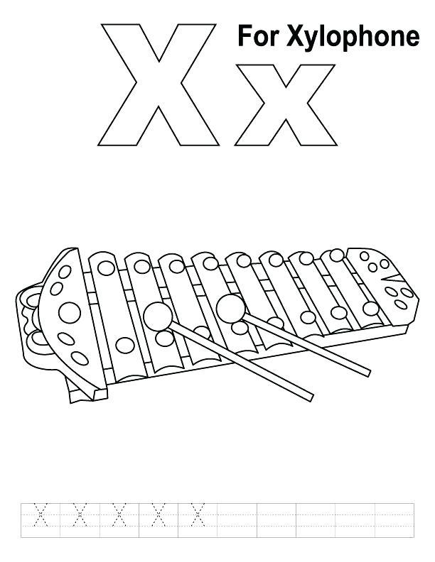 612x792 Xylophone Coloring Page X Xylophone Coloring Page Xylophone
