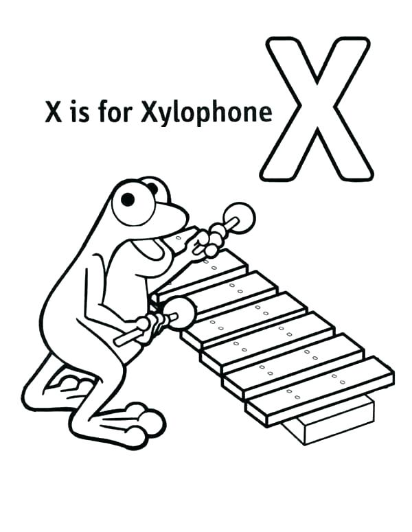 600x775 Letter X Coloring Page Letter X Coloring Page Xylophone Coloring