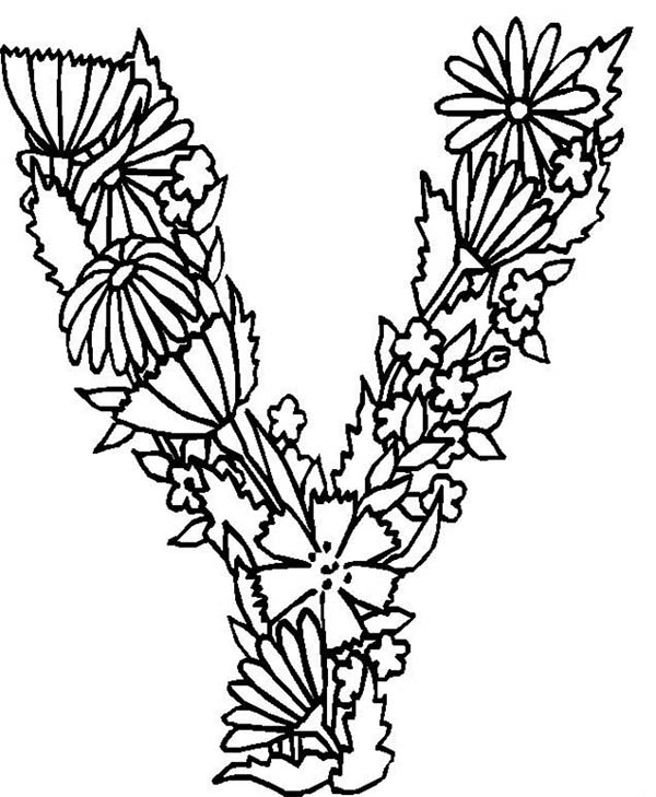 600x729 Alphabet Flowers Letter Y Coloring Pages Batch Coloring
