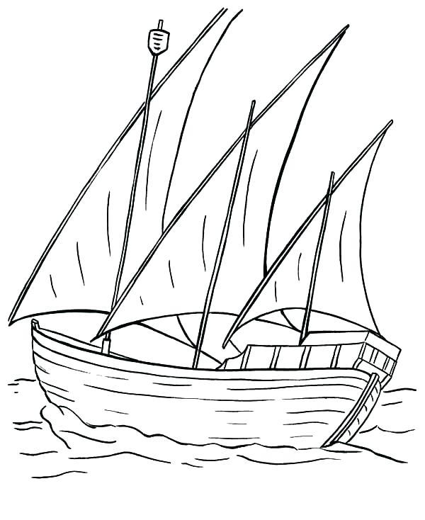 600x734 Fishing Boat Coloring Pages Drawn Sailboat Fishing Boat Pencil