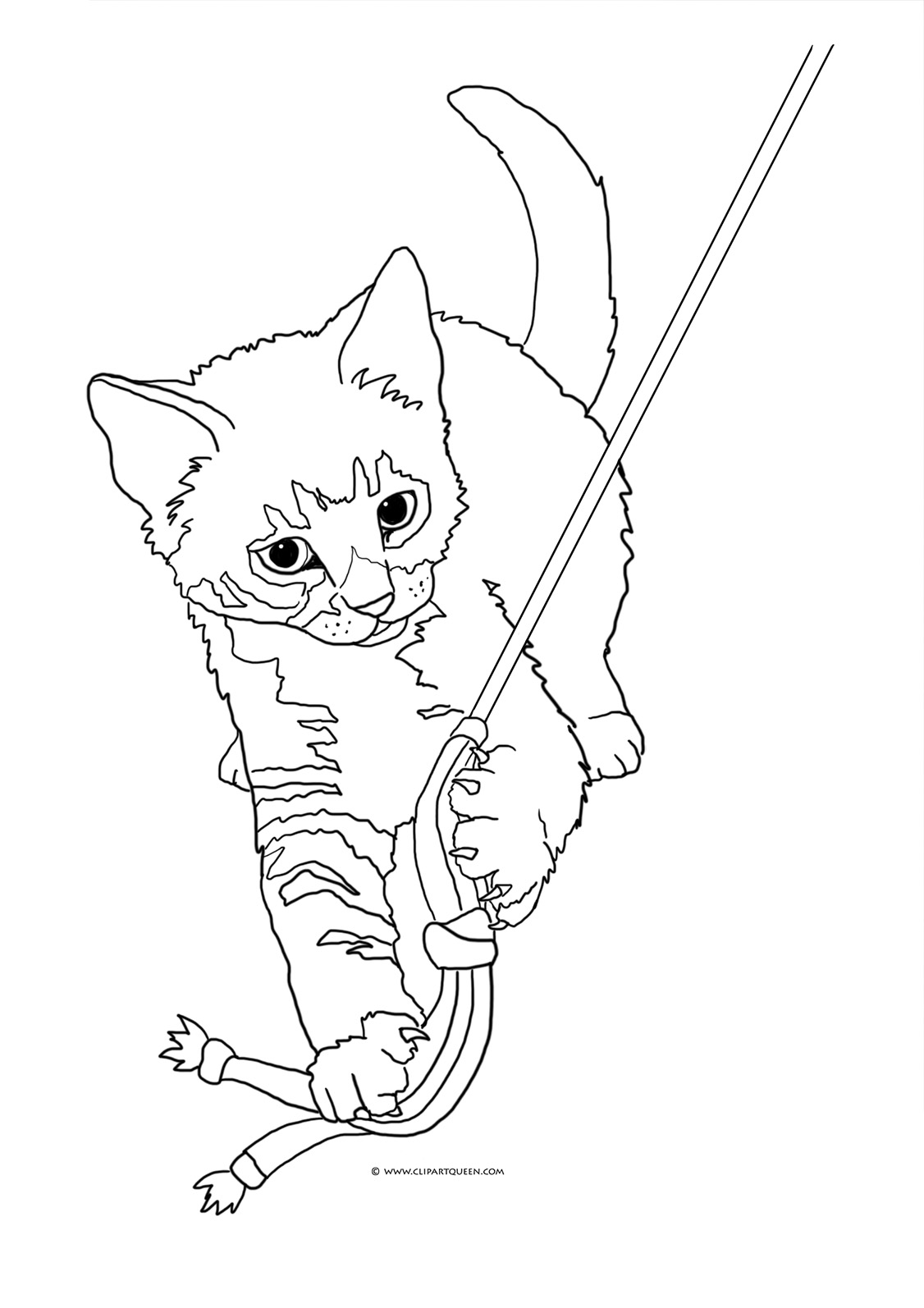 1126x1594 Cat Playing With Yarn Drawing