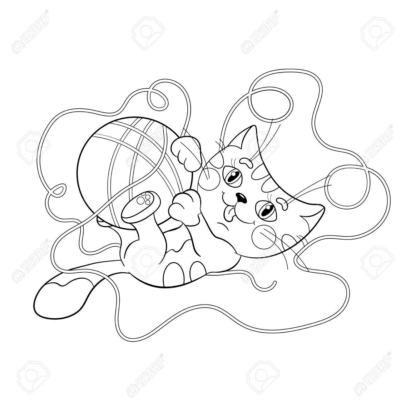 1300x1300 Coloring Page Outline Of A Fluffy Kitten Playing With Ball At Yarn
