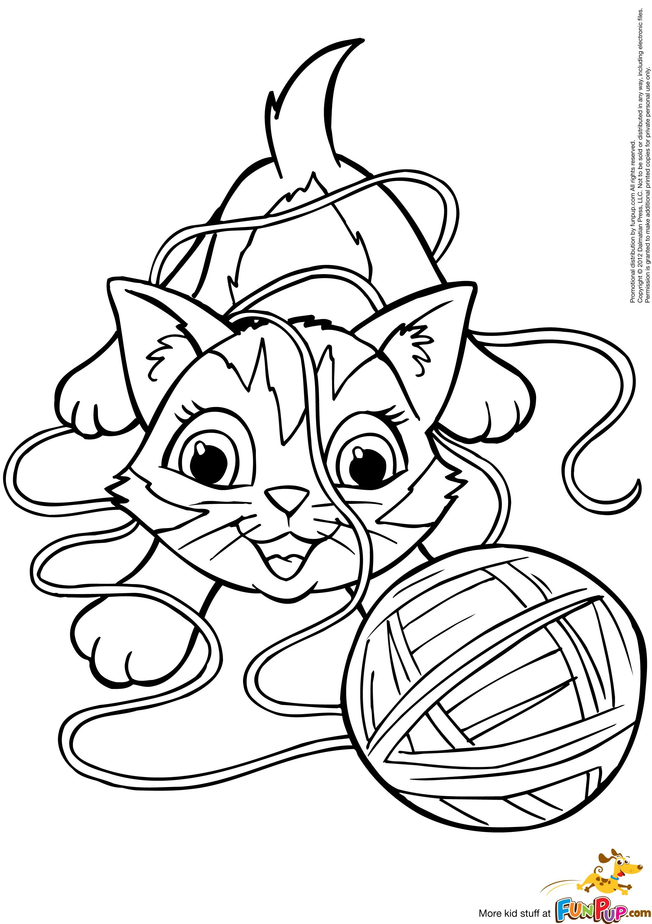 2189x3101 Amazing Kitten With Yarn Coloring Ball Of Page Pics For Cat Styles