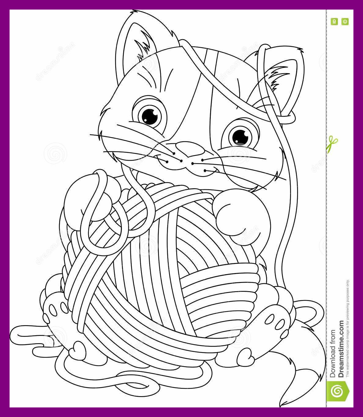 1185x1362 Shocking Kitten With Yarn Ball Coloring Page Stock Vector
