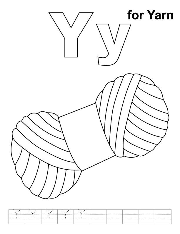 612x792 Y For Yarn Coloring Page With Handwriting Practice Y