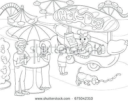 450x358 Park Coloring Amusement Park Coloring Pages For Children Hot Dog