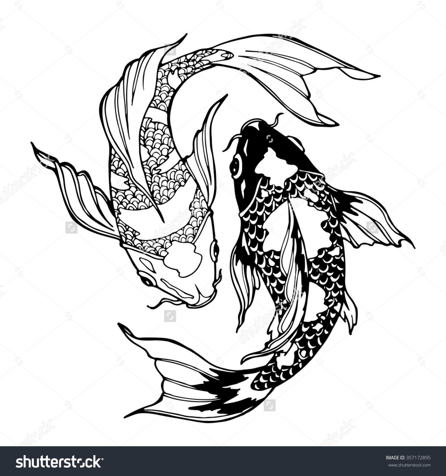 1500x1600 Illustration Of Koi Carp, Coloring Page, Yin Yang