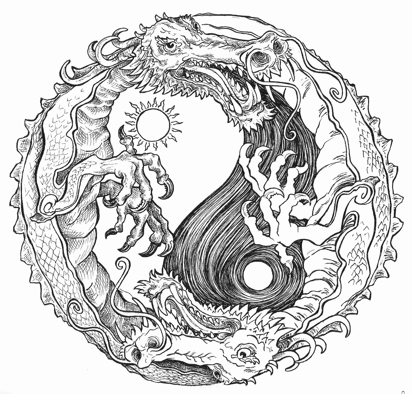 1600x1531 Printable Adult Coloring Pages Elegant Sun And Moon Dragon Yin