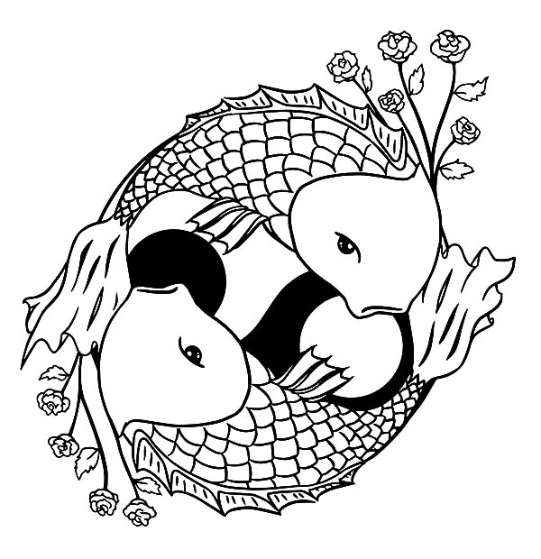 600x620 Two Koi Fish Formed Yin Yang Sign Coloring Pages
