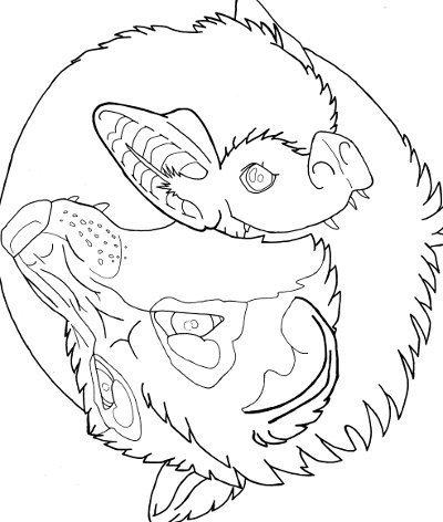 400x472 Wolf And Bat Yin Yang Coloring Page