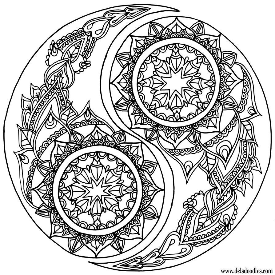 894x894 Yin Yang Coloring Page