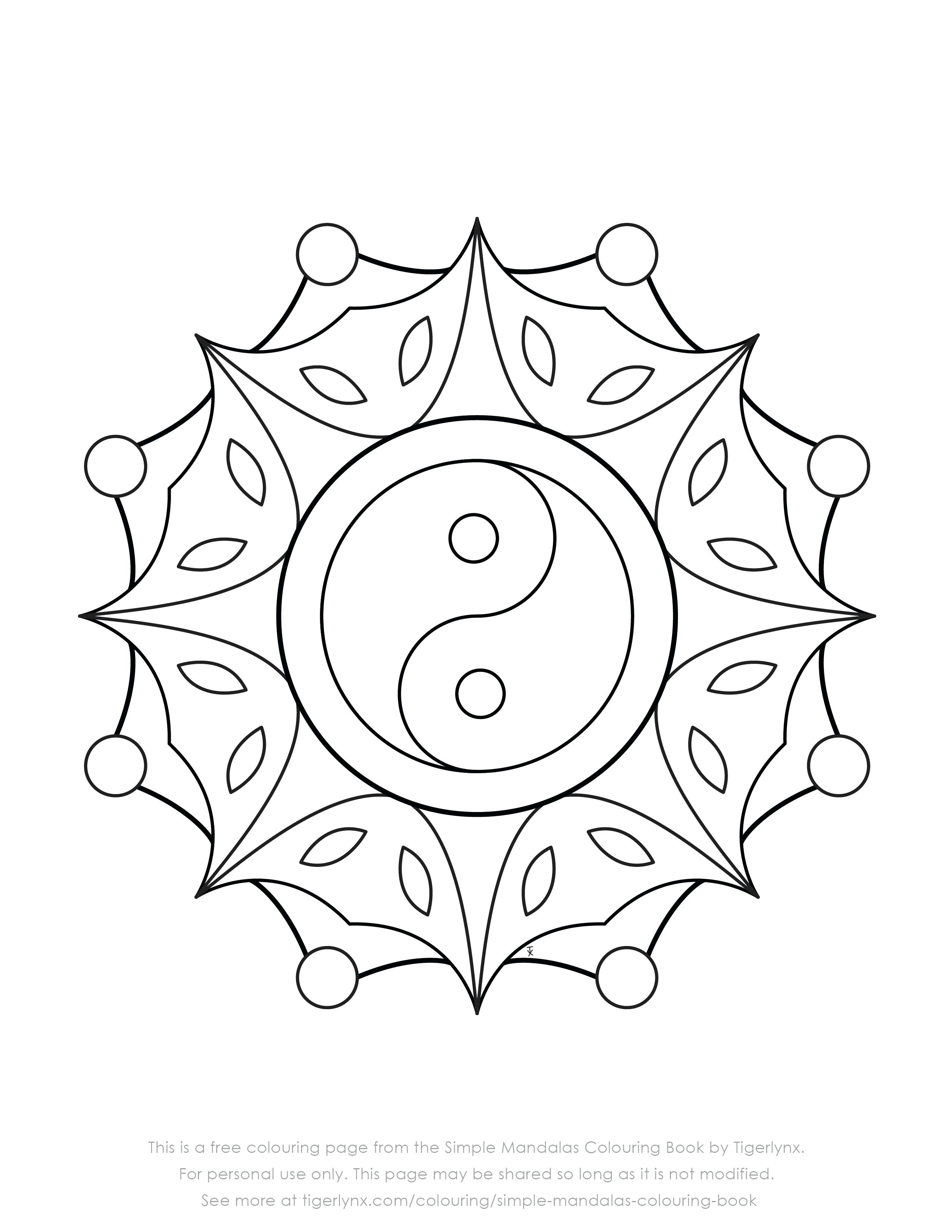 2550x3300 Coloring Page Simple Mandala Coloring Pages Free Yin Yang