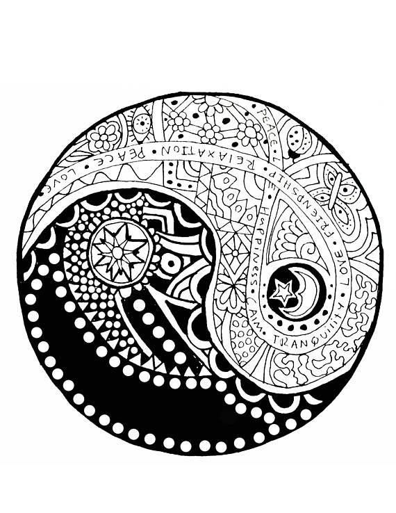570x738 Adult Coloring Page, Yin Yang, Yin Yang Coloring, Zen, Buddhist