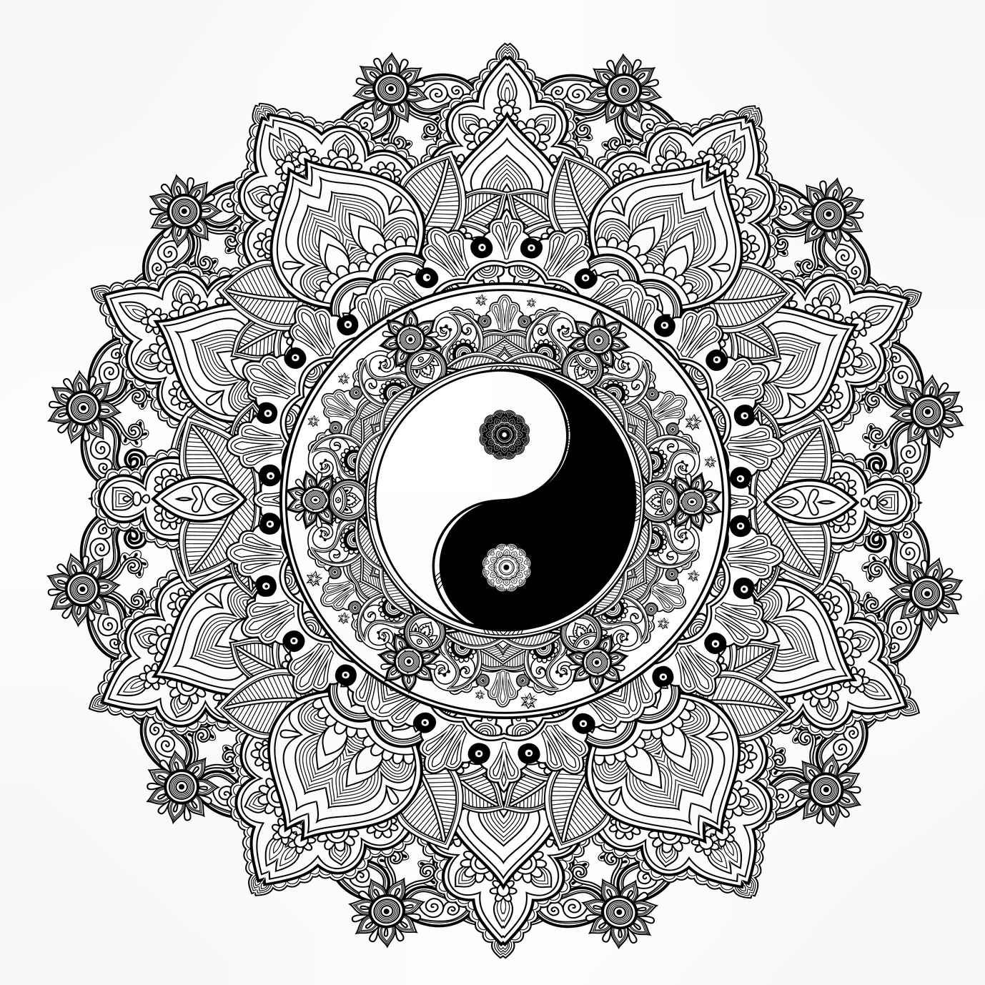 Yin Yang Mandala Coloring Pages At Getdrawings Com Free