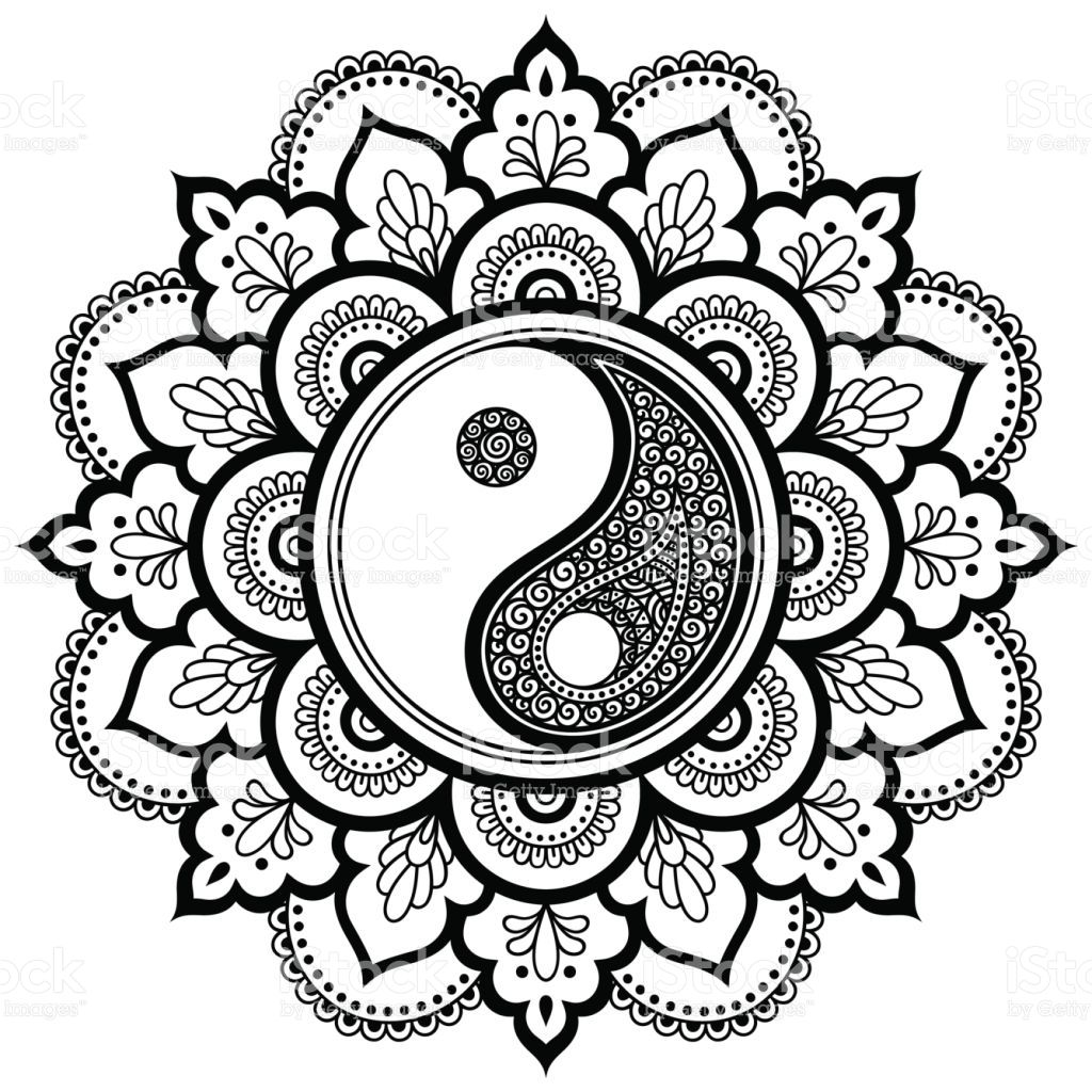 1024x1024 Mandala De Tatoo Vector Do Henna Decorativo De Yin Yang