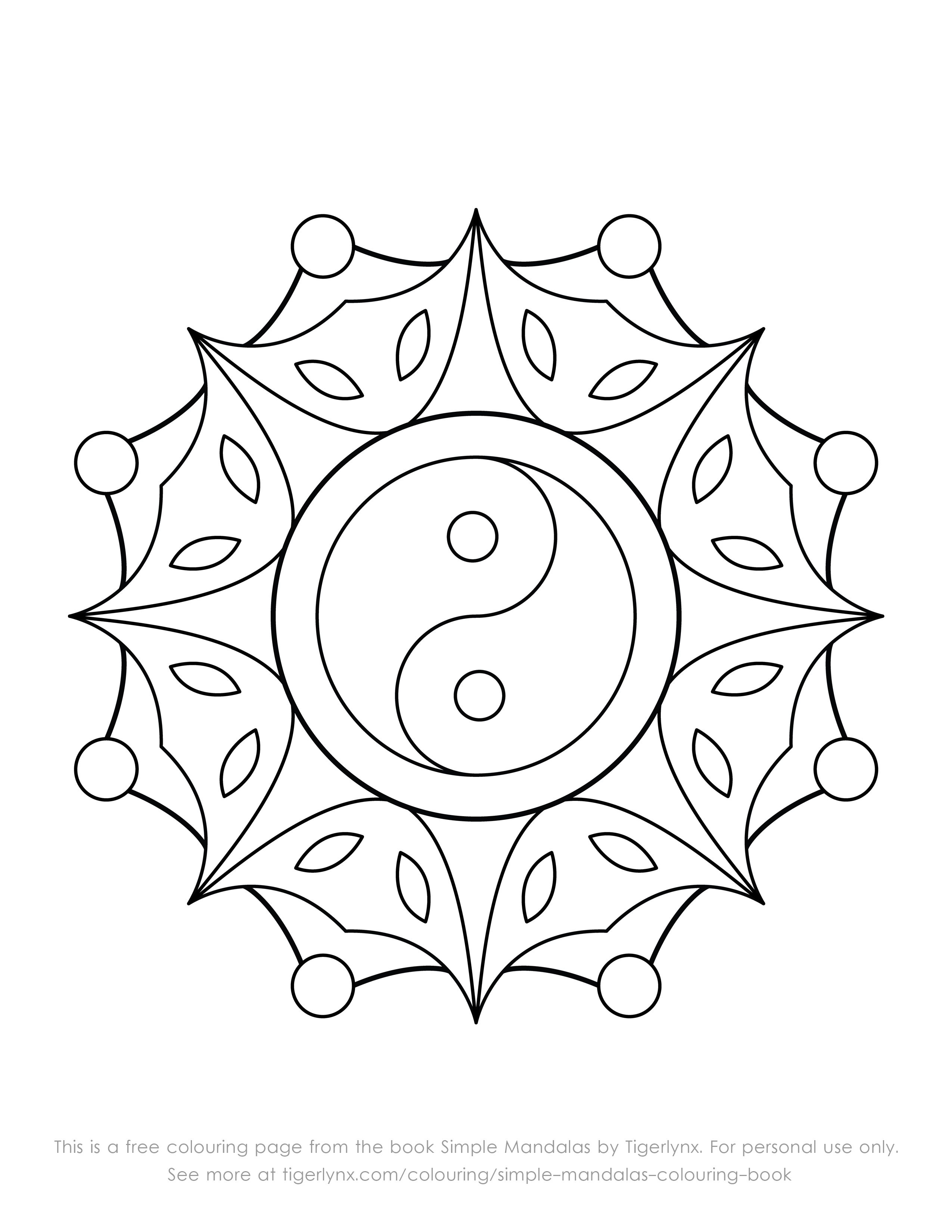2550x3300 This Is A Free Colouring Page With An Easy Yin Yang Mandala Design
