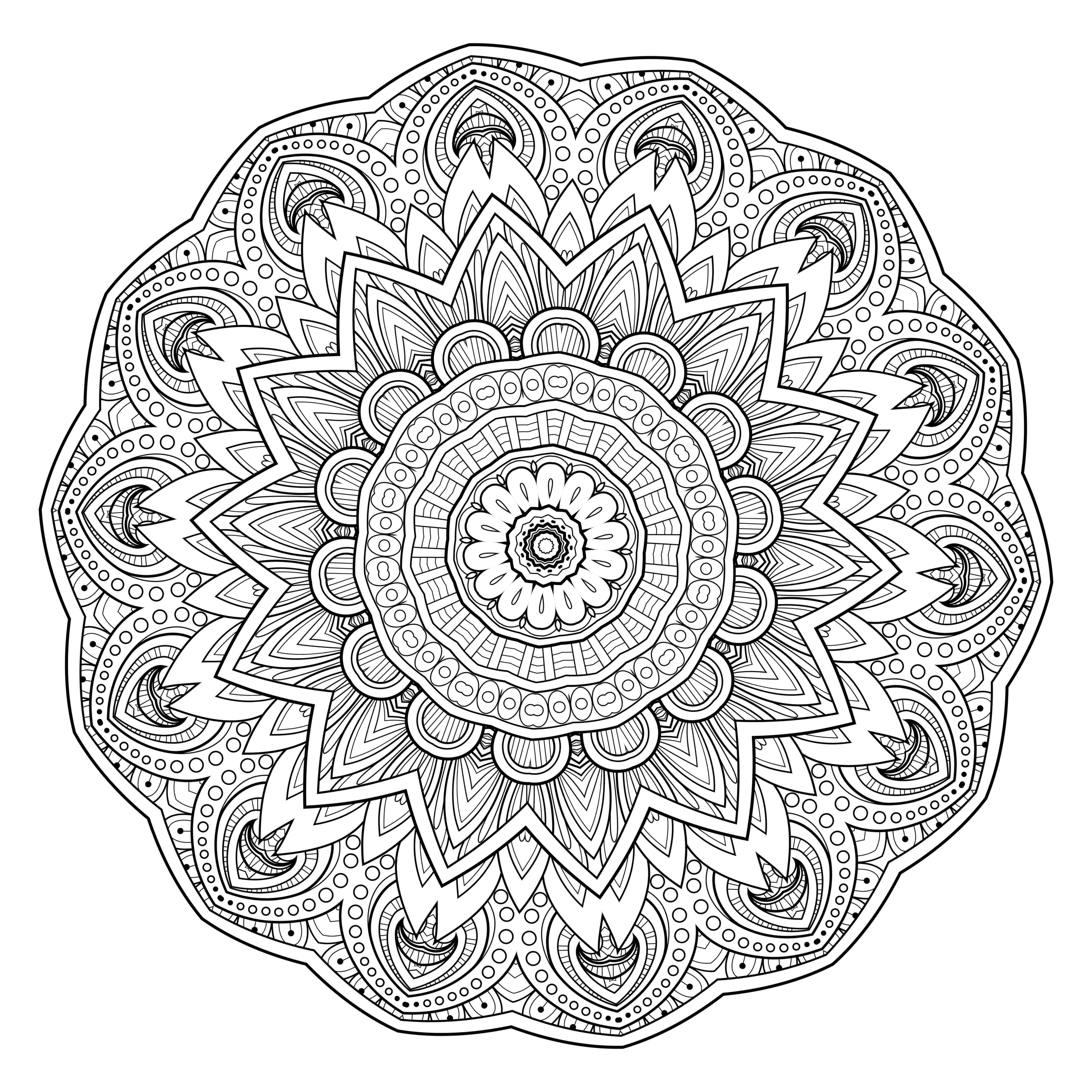 4000x4000 Coloring Page Mandala Yin And Yang To Color