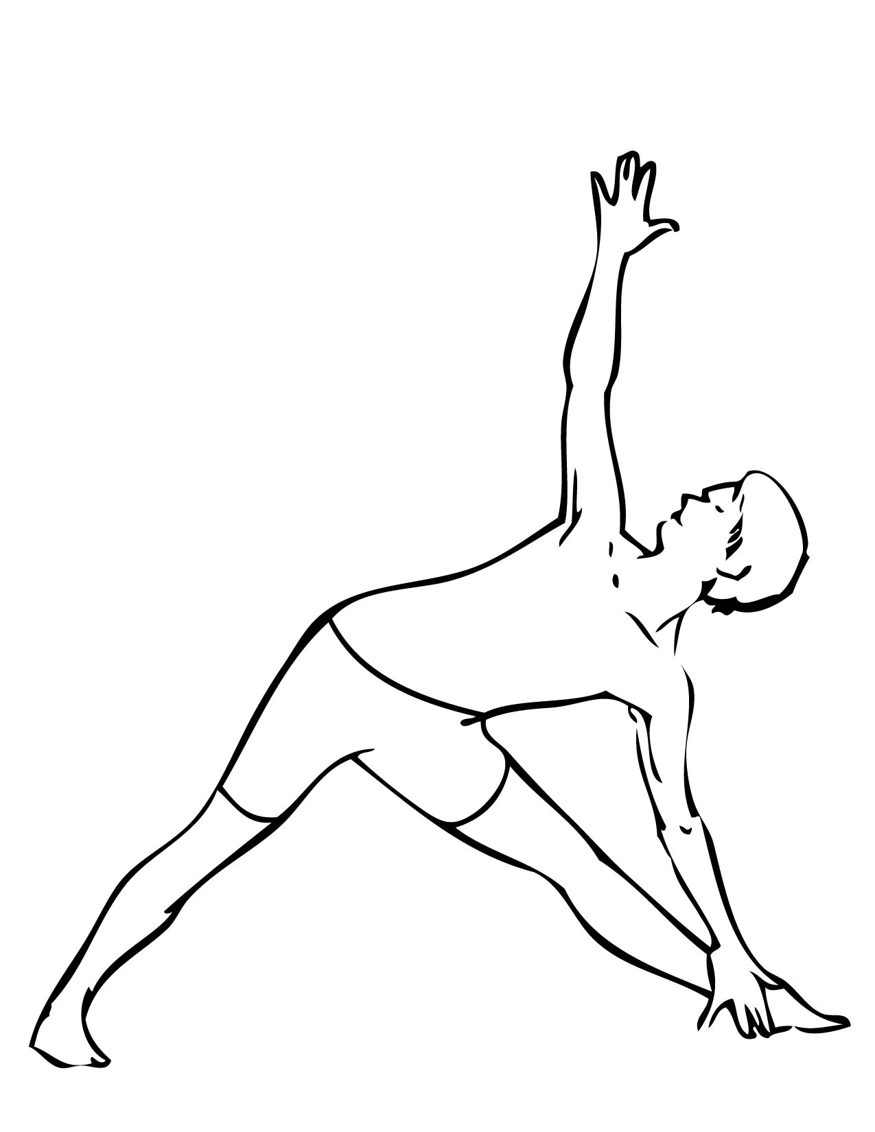 1275x1650 Standing Triangle Pose Coloring Page
