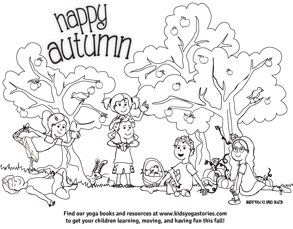 1022x797 Autumn Coloring Page Kids Yoga Stories