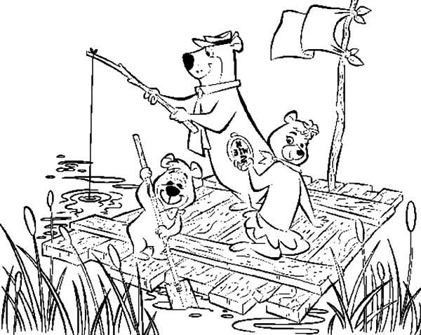 600x478 Yogi Bear And Cindy Ride Wooden Raft With Boo Boo Bear Coloring