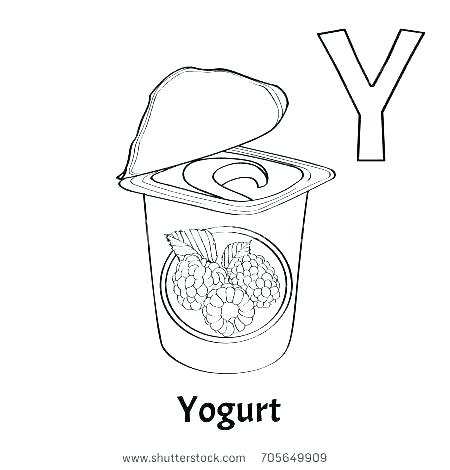 450x470 Yogurt Coloring Page Letter Y Coloring Pages Letter W Coloring