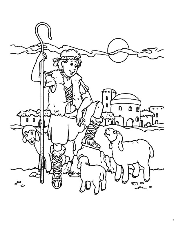 600x776 David The Shepherd Coloring Page