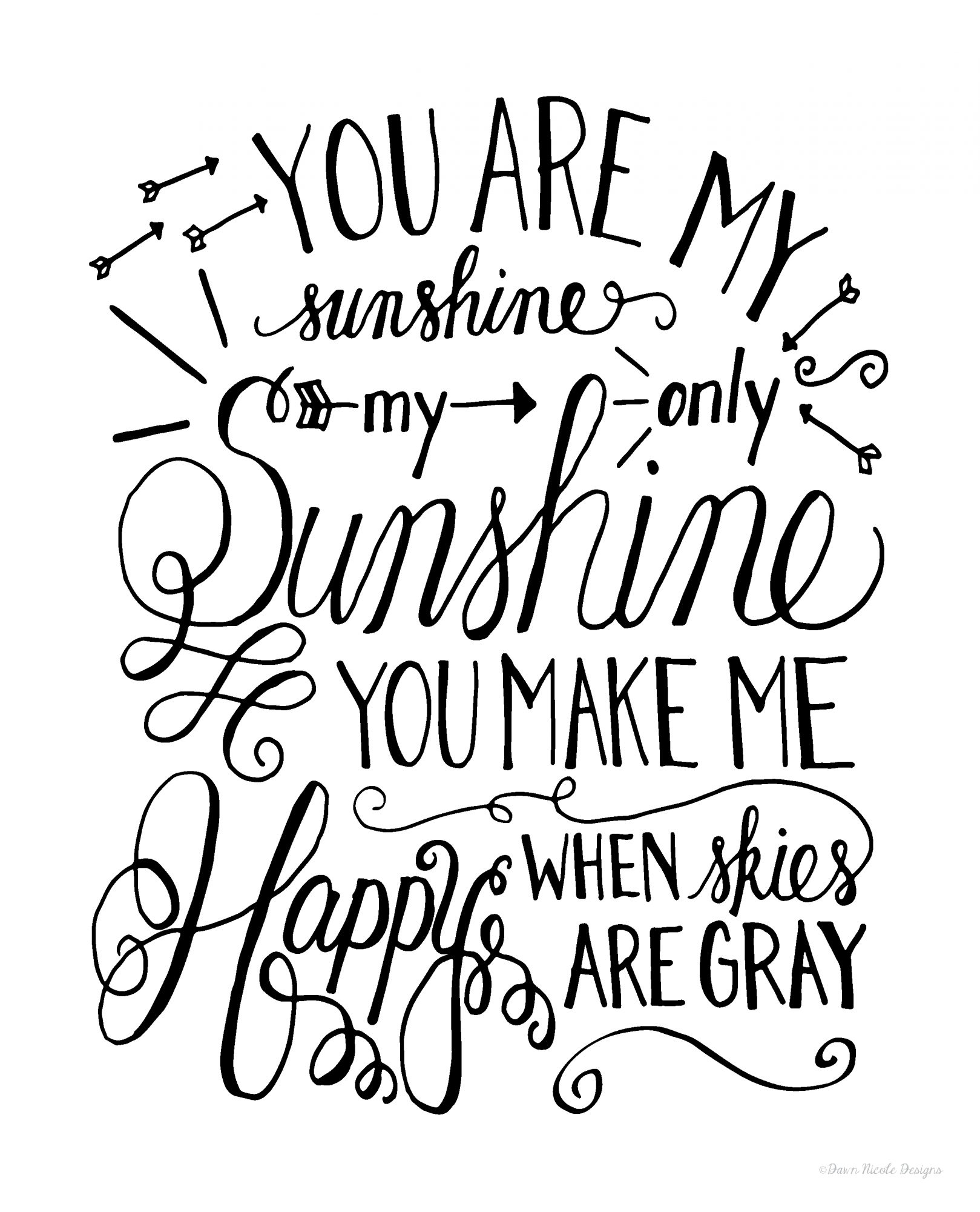 1619x2000 Hand Lettered You Are My Sunshine Print Dawn Nicole